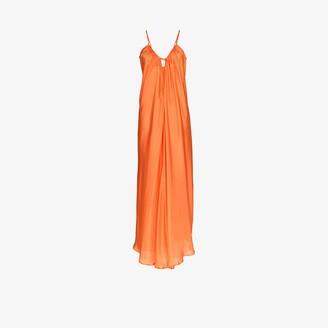 POUR LES FEMMES Paris silk maxi dress