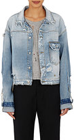 R 13 Women's Distressed Denim Trucker Jacket-LIGHT BLUE