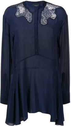 Ermanno Ermanno Long Silk Lace-Insert Blouse