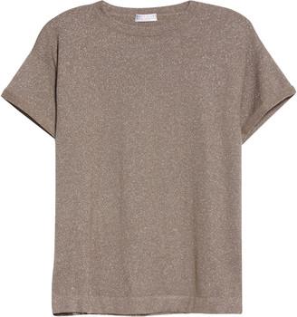 Brunello Cucinelli Metallic Cashmere Blend Short Sleeve Sweater