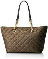 Calvin Klein Quilted Metallic Tweed Nylon Chain Tote