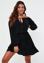 Missguided Black Bardot Tassel Mini Dress