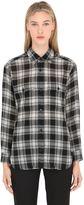 Saint Laurent Bleached Wool Plaid Shirt