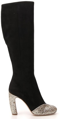 Miu Miu Knee Length Glitter Detail Boots