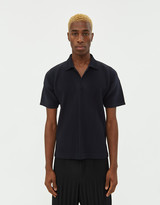 Issey Miyake Homme Plissé Homme Plisse Men's Basics Polo Shirt in Navy, Size 2