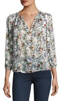 Rebecca Taylor Long-Sleeve Floral-Print Silk Top