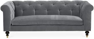 Kim Salmela Dexter Tufted Sofa - Charcoal Velvet frame, espresso; upholstery, charcoal; ferrules, brass