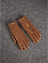 Burberry Check Embroidered Lambskin Gloves , Size: 7, Beige