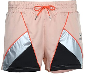 Puma Tailored For Sport Satin Shorts (Pink Sand Black/Metallic Silver/Hot Coral) Women's Shorts