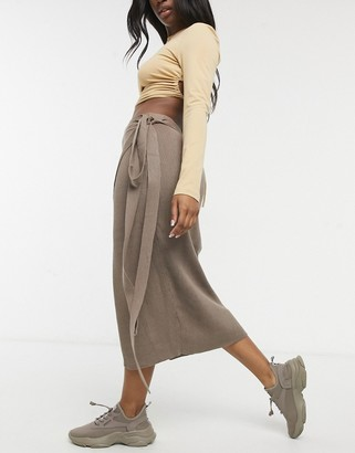 SNDYS Cece knit skirt in chocolate brown