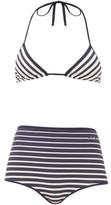 Valentino Striped Triangle High-rise Bikini - Womens - Navy Multi