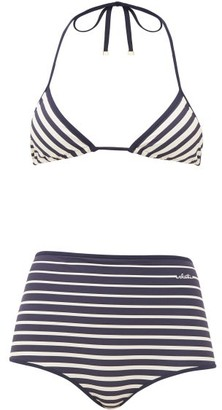 Valentino Striped Triangle High-rise Bikini - Navy Multi