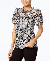 Kensie Ruffled Floral-Print Top