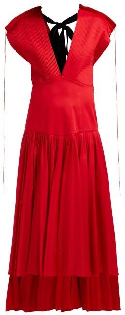 KHAITE Theodora Pleated Cotton-poplin Midi Dress - Red