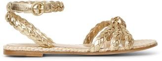Gianvito Rossi Bee flat gold and raffia sandals