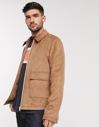 ASOS DESIGN faux suede harrington jacket with patch pocket in tan