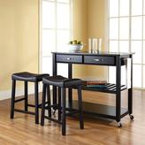 Crosley 42 in. Solid Black Granite Top Kitchen Island Cart with Two 24 in. Upholstered Saddle Stools in Black