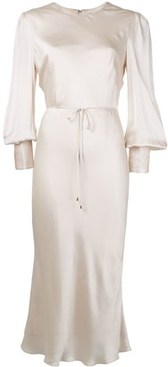 Rebecca Vallance Molly bishop-sleeved satin midi dress