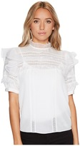 Rebecca Taylor Short Sleeve Silk With Lace Top Women's Clothing
