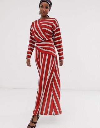 ASOS DESIGN wrap detail maxi dress in wide stripe