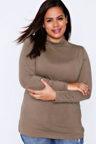 Yours Clothing Taupe Brown Turtle Neck Long Sleeved Soft Touch Jersey Top