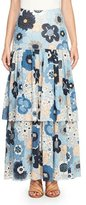 Chloé Tiered Floral Maxi Skirt, Blue/Multi