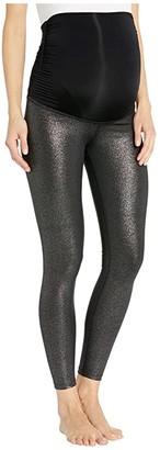 Beyond Yoga Maternity Twinkle Midi Leggings (Black/Silver Twinkle) Women's Casual Pants