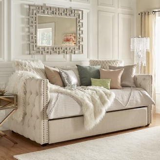 Three Posts Scribner Button Tufted Full Daybed with Trundle Color: Beige