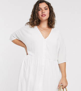 In The Style Plus x Jac Jossa v neck trapeze mini dress in white
