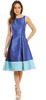 Adrianna Papell Petite Mikado Colorblock T-Length Dress