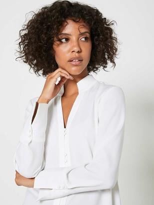 Mint Velvet Stand Collar Wrap Back Shirt - Ivory