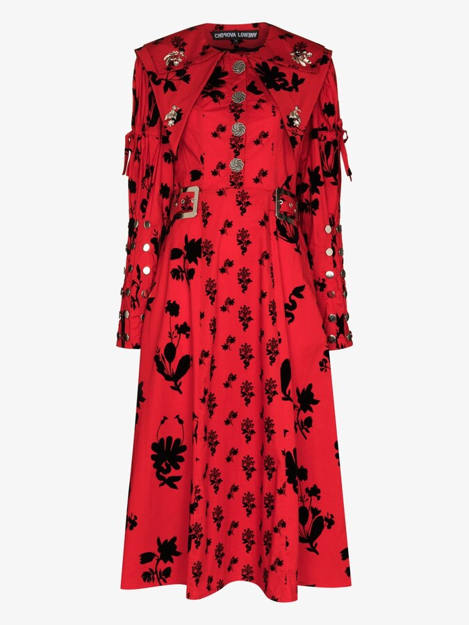 Thumbnail for your product : Chopova Lowena Red Floral Print Midi Dress