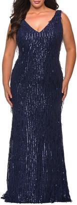 La Femme Plus Size Fringe Sequin V-Neck Sleeveless Column Gown
