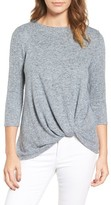 Gibson Petite Women's Twist Front Cozy Fleece Pullover