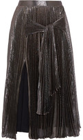 Christopher Kane Pleated Silk-blend Lamé Midi Skirt - Metallic