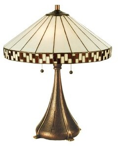 "MACKINTOSH Meyda Tiffany Prairie Asian Checkerboard 23"" Table Lamp Meyda Tiffany"