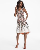 White House Black Market Floral Printed Hi-Lo Fit and Flare Dress