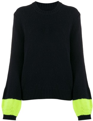 Chinti and Parker Ribbed Knit Contrast-Sleeve Jumper