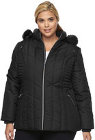 Details Plus Size Hooded Smocked Puffer Jacket