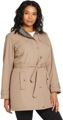 Women's Weathercast Hooded Midweight Single Breasted Trench Coat