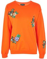 Topshop Floral applique sweatshirt