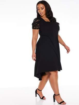 Quiz Curve Square Neck Puff Lace Sleeve Scuba Crepe Dip Hem Dress - Black