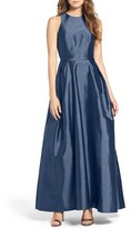 Women's Monique Lhuillier Bridesmaids Cross Back Taffeta Gown