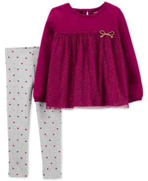 Carter's Baby Girls 2-Pc. Glitter Tulle Tunic & Heart-Print Leggings Set