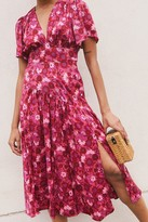 Topshop Womens Willow Pink Floral Print Angel Sleeve Midi Dress - Pink