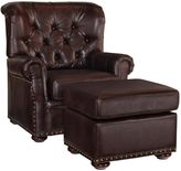Home Styles Melissa Faux Leather Chair and Ottoman in Brown