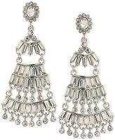 ABS by Allen Schwartz Silver-Tone Baguette Chandelier Earrings