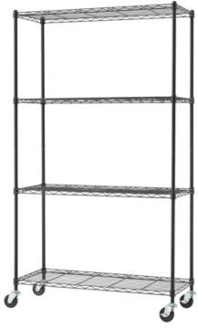 Trinity Basics 4-Tier Wire Shelving Rack Nsf Includes Wheels
