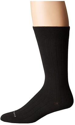 Feetures Wide Rib Ultra Light Crew Sock (Black) Crew Cut Socks Shoes
