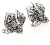 Oscar de la Renta Gradient Crystal Flower Earrings